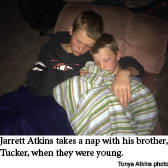 Jarrett Atkins and his brother napping